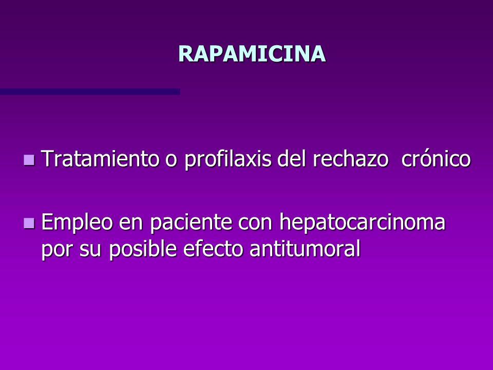 RAPAMICINA Tratamiento o profilaxis del rechazo crónico.