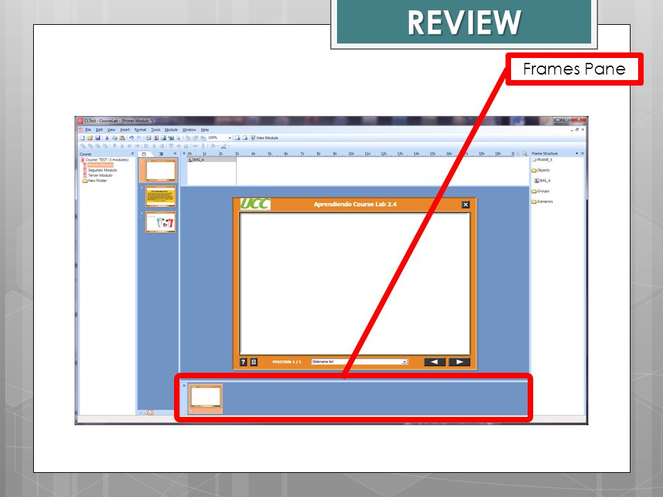 REVIEW Frames Pane Course Lab Window