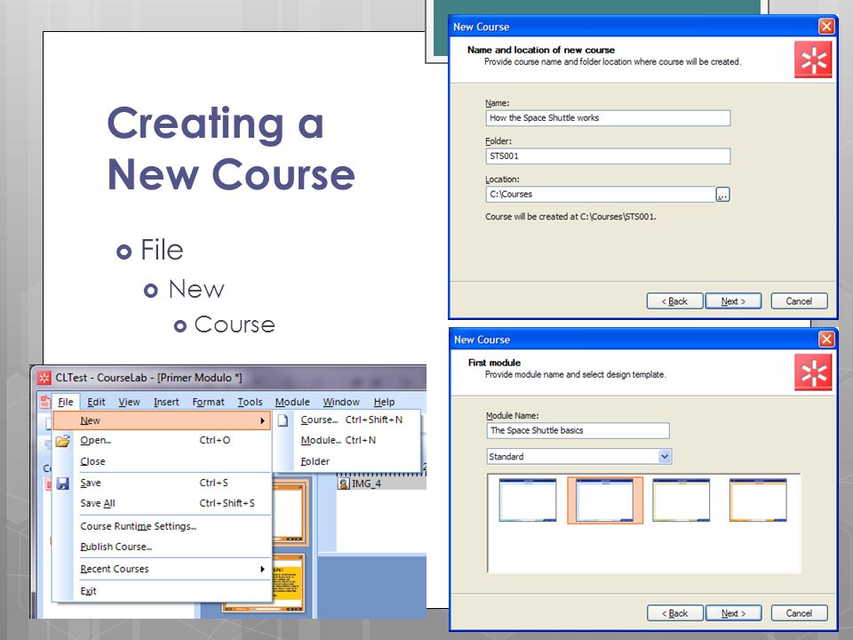 Creating a New Course File New Course