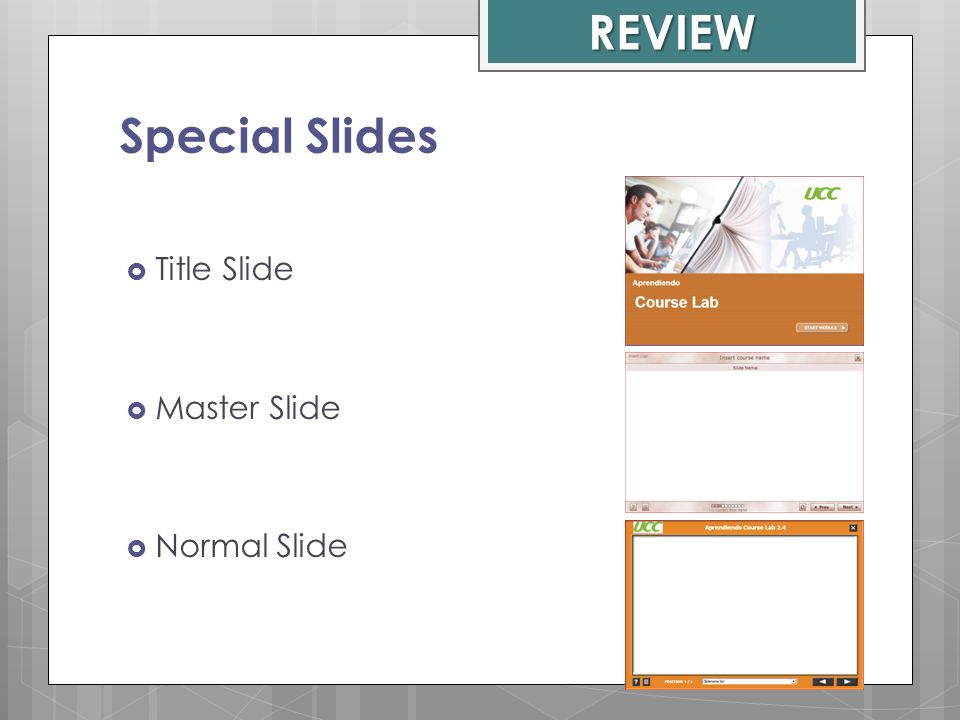 REVIEW Special Slides Title Slide Master Slide Normal Slide