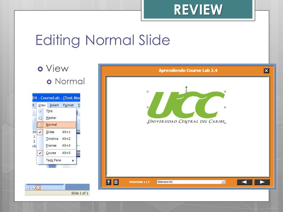 REVIEW Editing Normal Slide View Normal