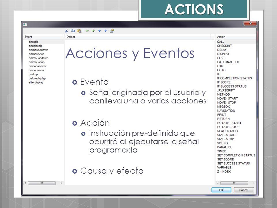 ACTIONS Acciones y Eventos Evento Acción Causa y efecto