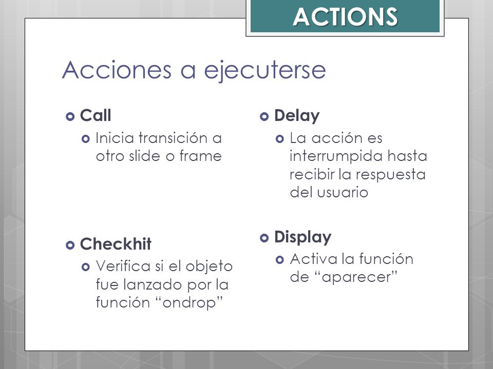 ACTIONS Acciones a ejecuterse Call Checkhit Delay Display
