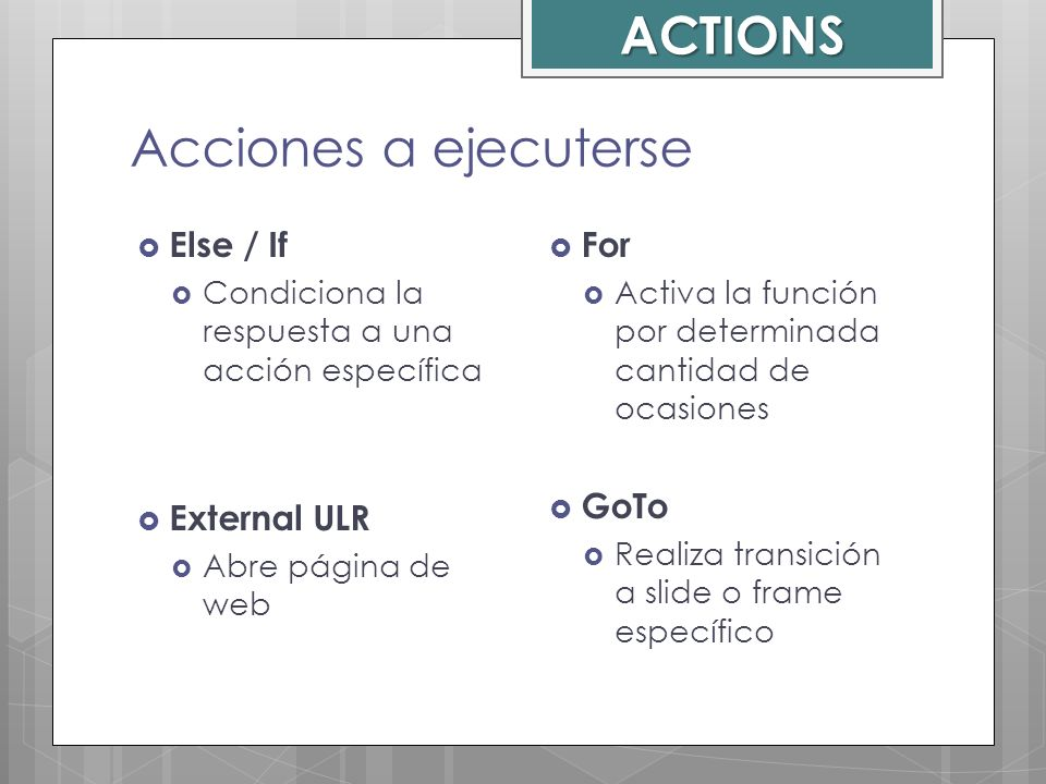 ACTIONS Acciones a ejecuterse Else / If External ULR For GoTo