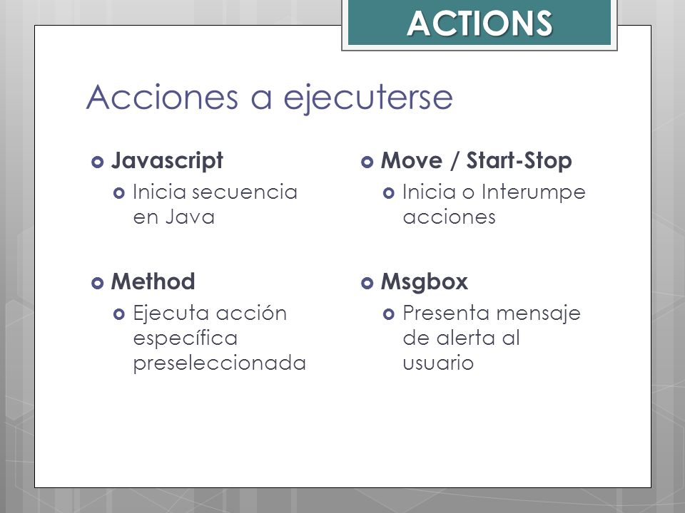 ACTIONS Acciones a ejecuterse Javascript Method Move / Start-Stop