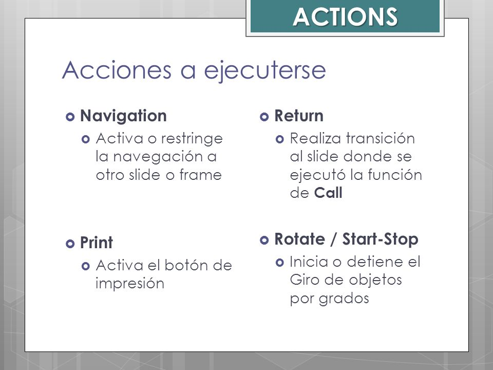 ACTIONS Acciones a ejecuterse Navigation Print Return