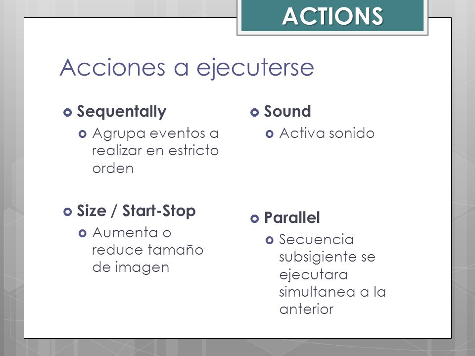 ACTIONS Acciones a ejecuterse Sequentally Size / Start-Stop Sound