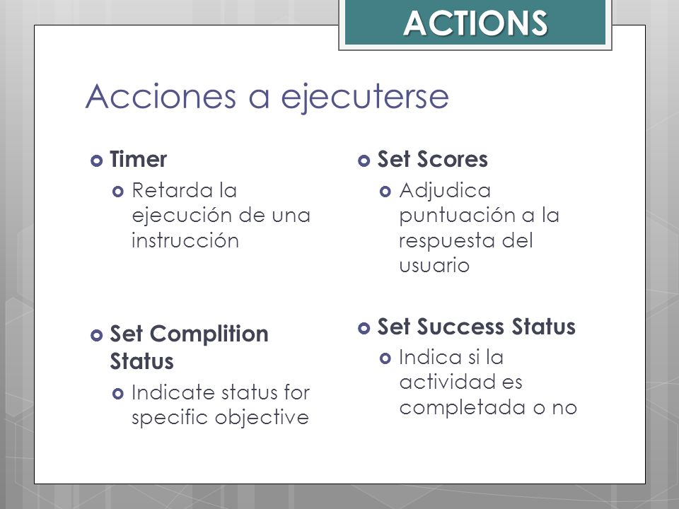 ACTIONS Acciones a ejecuterse Timer Set Complition Status Set Scores