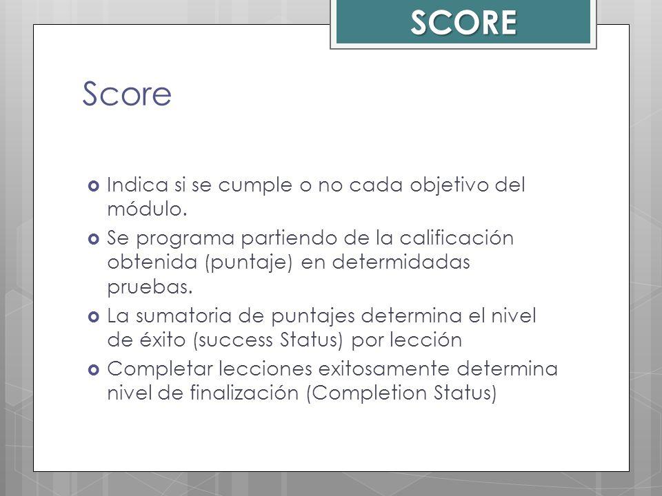 SCORE Score Indica si se cumple o no cada objetivo del módulo.