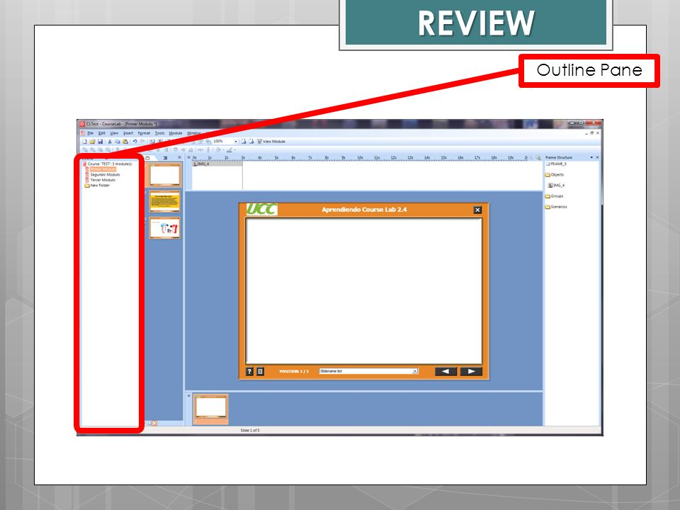 REVIEW Outline Pane Course Lab Window