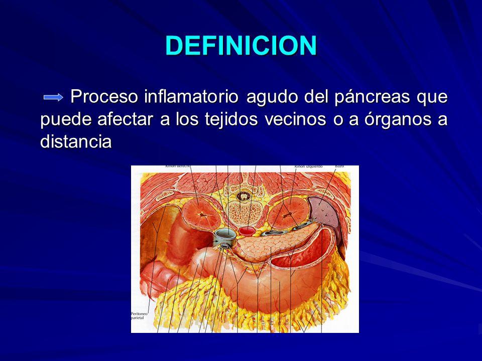 DEFINICION Proceso inflamatorio agudo del páncreas que puede afectar a los tejidos vecinos o a órganos a distancia.