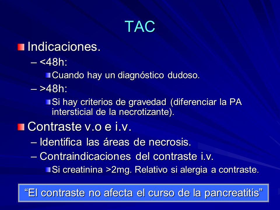 TAC Indicaciones. Contraste v.o e i.v. <48h: >48h: