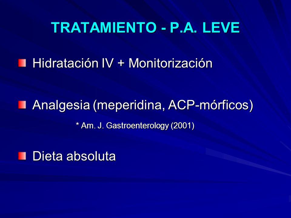 Hidratación IV + Monitorización Analgesia (meperidina, ACP-mórficos)