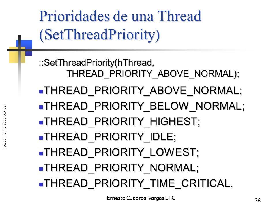 Prioridades de una Thread (SetThreadPriority)