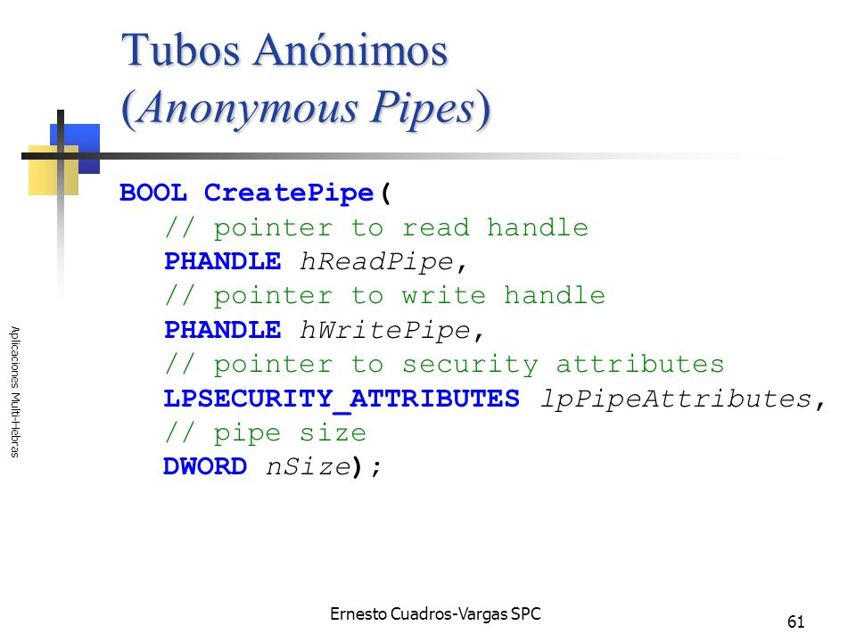 Tubos Anónimos (Anonymous Pipes)