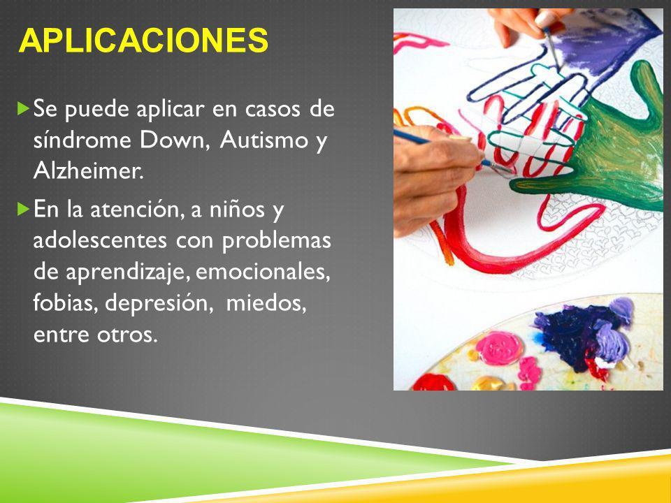 Aplicaciones Se puede aplicar en casos de síndrome Down, Autismo y Alzheimer.