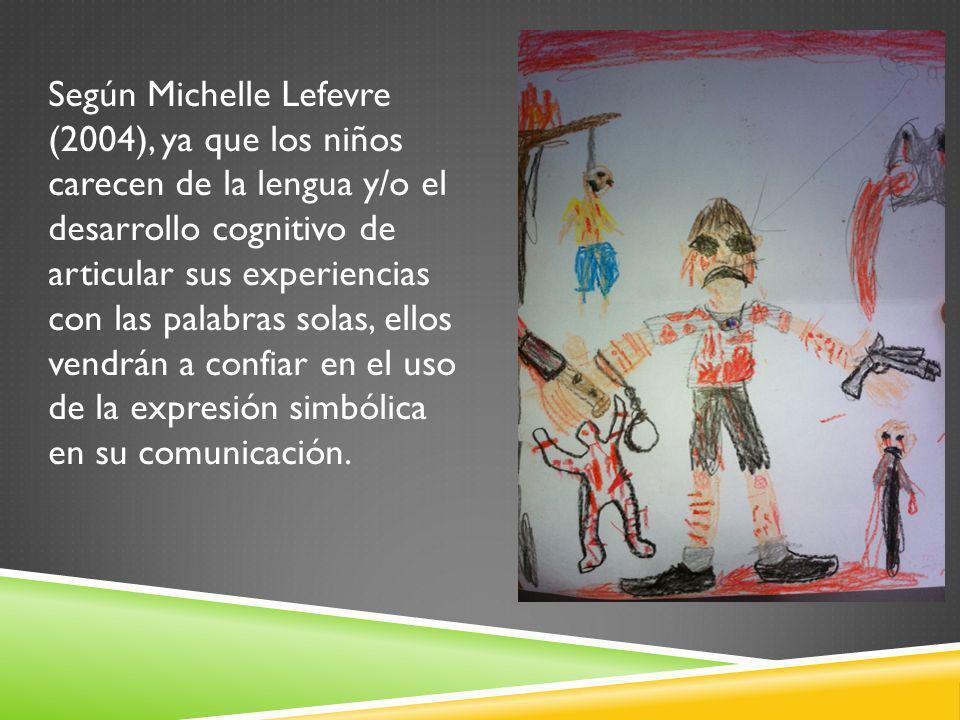 Según Michelle Lefevre (2004), ya que los niños carecen de la lengua y/o el desarrollo cognitivo de articular sus experiencias con las palabras solas, ellos vendrán a confiar en el uso de la expresión simbólica en su comunicación.