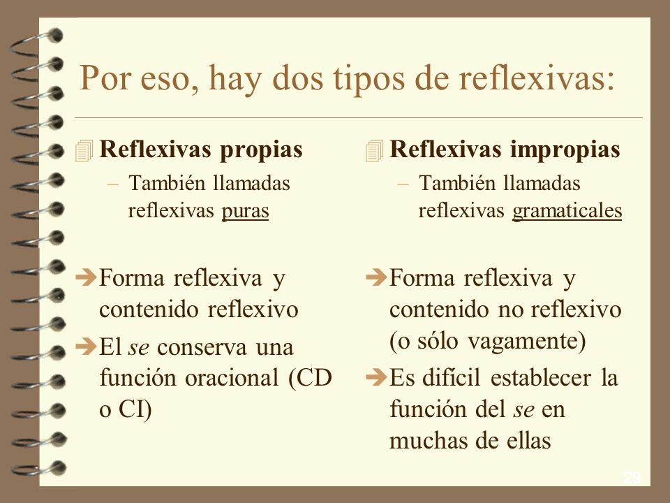 Por eso, hay dos tipos de reflexivas: