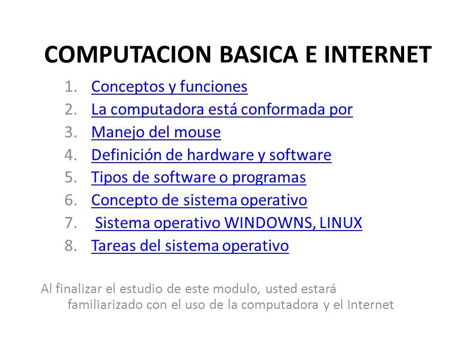 COMPUTACION BASICA E INTERNET