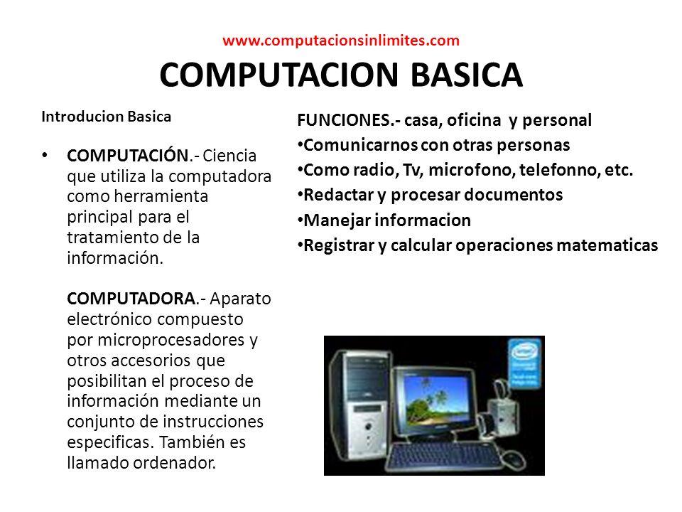 www.computacionsinlimites.com COMPUTACION BASICA