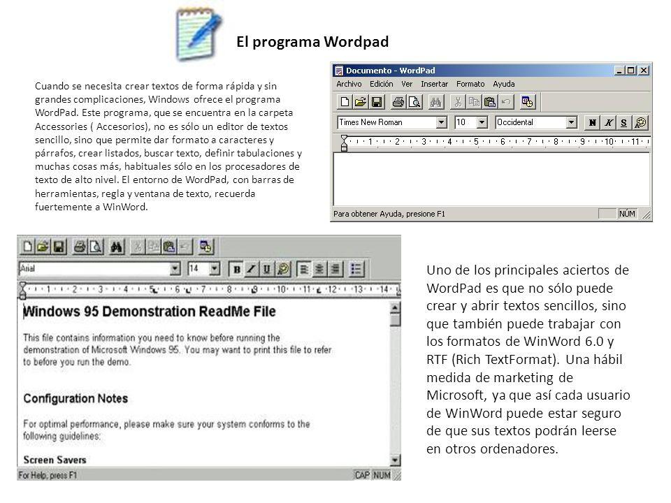 El programa Wordpad