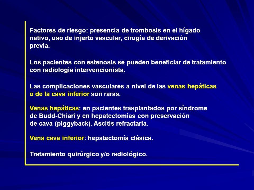 Factores de riesgo: presencia de trombosis en el hígado