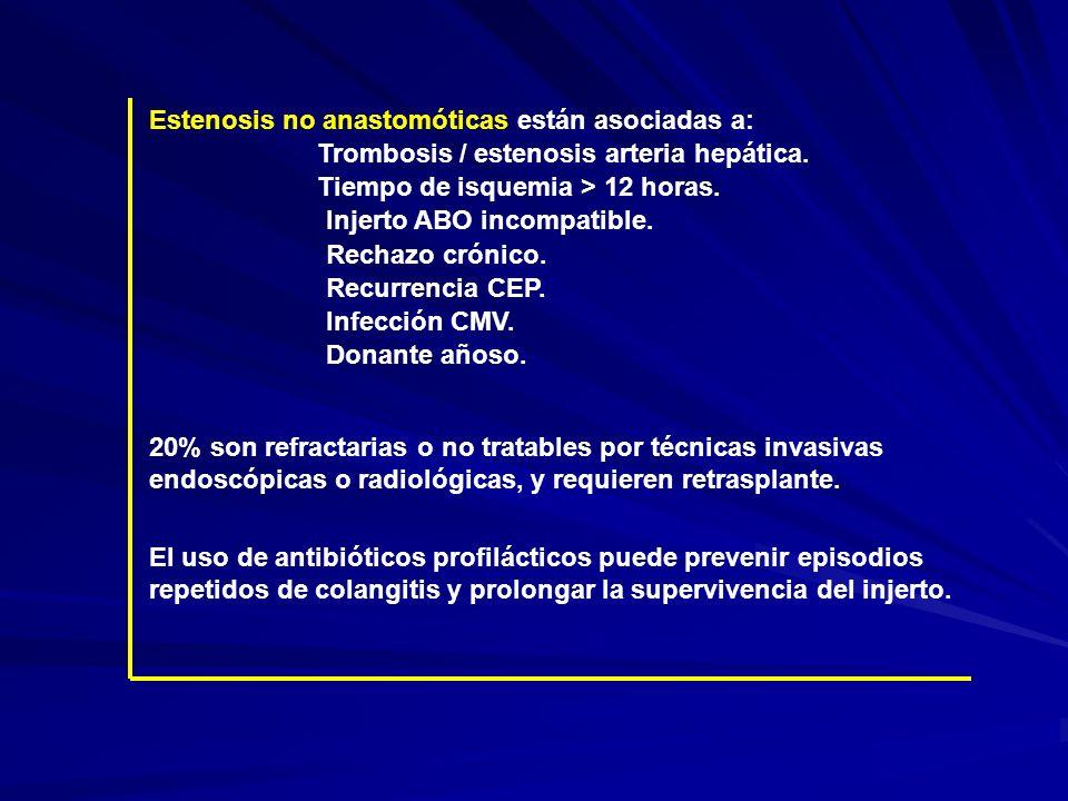 Estenosis no anastomóticas están asociadas a: