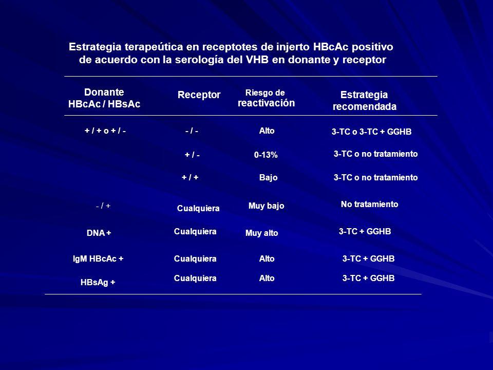 Estrategia terapeútica en receptotes de injerto HBcAc positivo