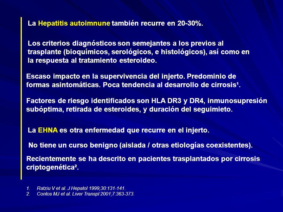 La Hepatitis autoimnune también recurre en 20-30%.