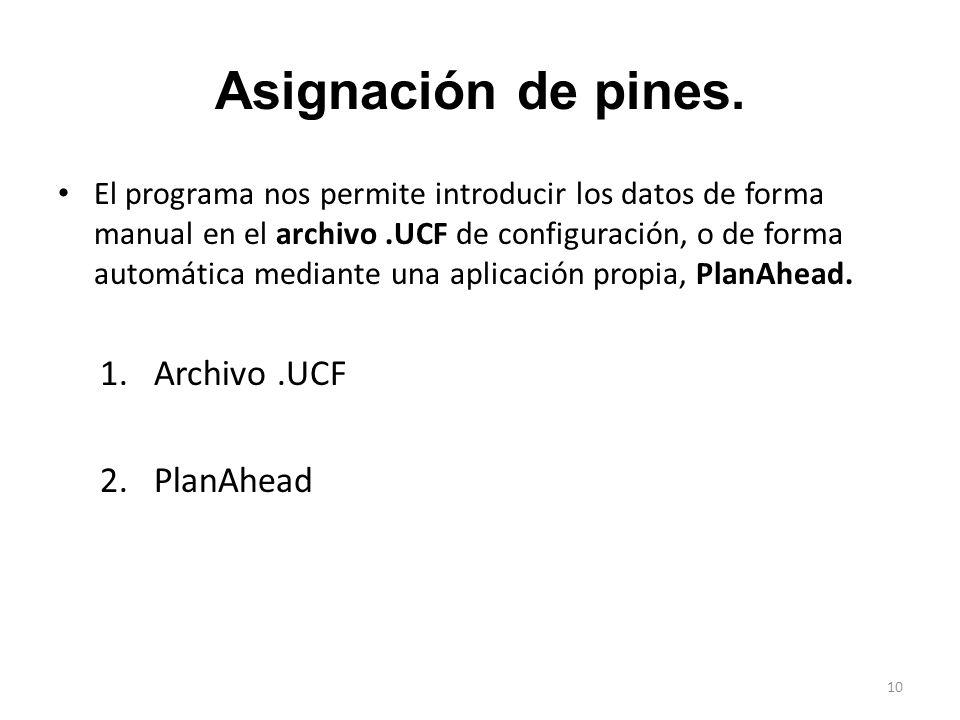 Asignación de pines. Archivo .UCF PlanAhead