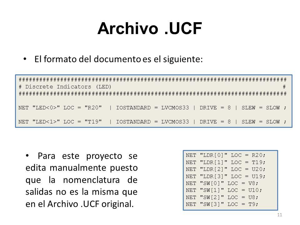 Archivo .UCF El formato del documento es el siguiente: