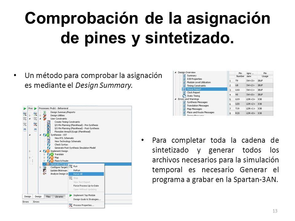 Comprobación de la asignación de pines y sintetizado.