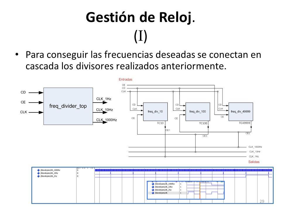 Gestión de Reloj. (I) Para conseguir las frecuencias deseadas se conectan en cascada los divisores realizados anteriormente.