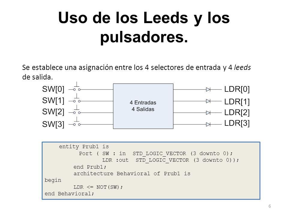 Uso de los Leeds y los pulsadores.