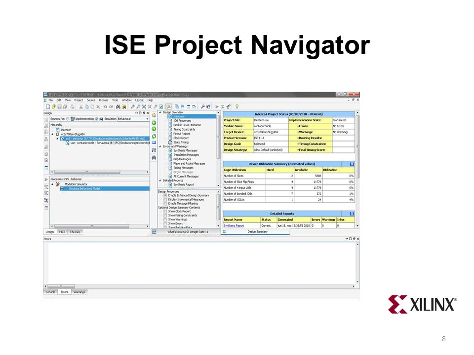 ISE Project Navigator El programa que no proporciona Xilinx para operar con la Spartan-3AN.
