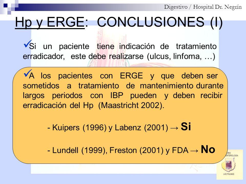 Hp y ERGE: CONCLUSIONES (I)
