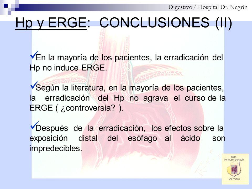 Hp y ERGE: CONCLUSIONES (II)