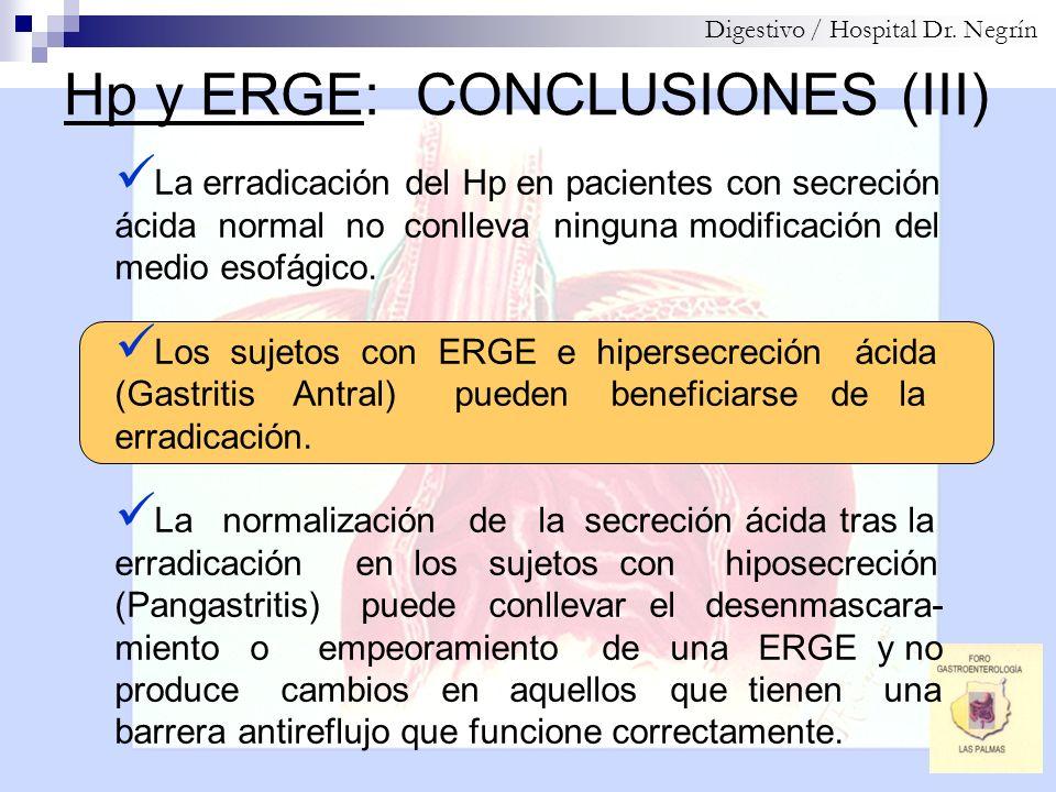 Hp y ERGE: CONCLUSIONES (III)