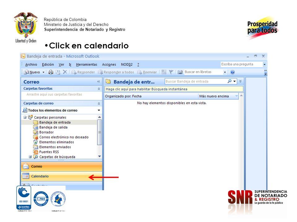 Click en calendario República de Colombia