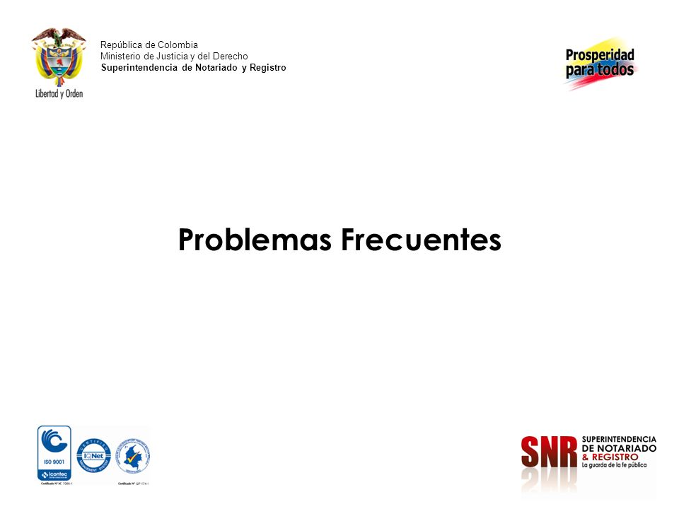 Problemas Frecuentes República de Colombia