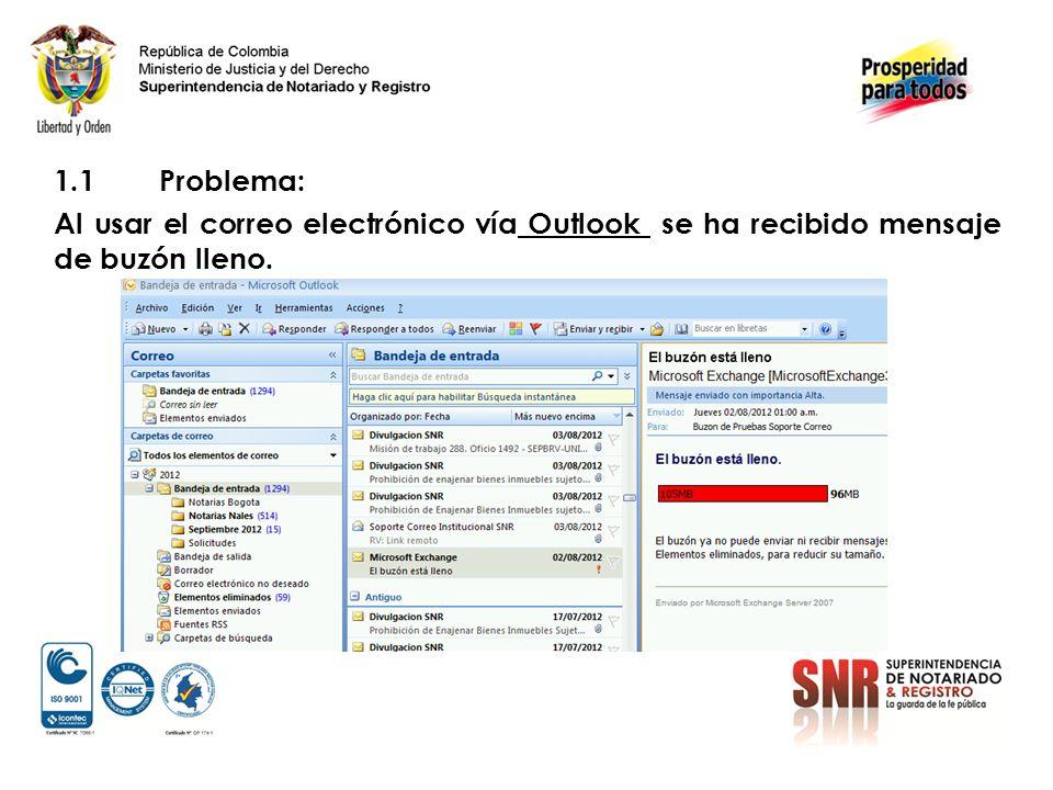 1.1 Problema: Al usar el correo electrónico vía Outlook se ha recibido mensaje de buzón lleno.