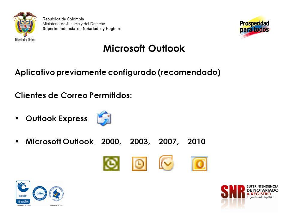 Microsoft Outlook Aplicativo previamente configurado (recomendado)