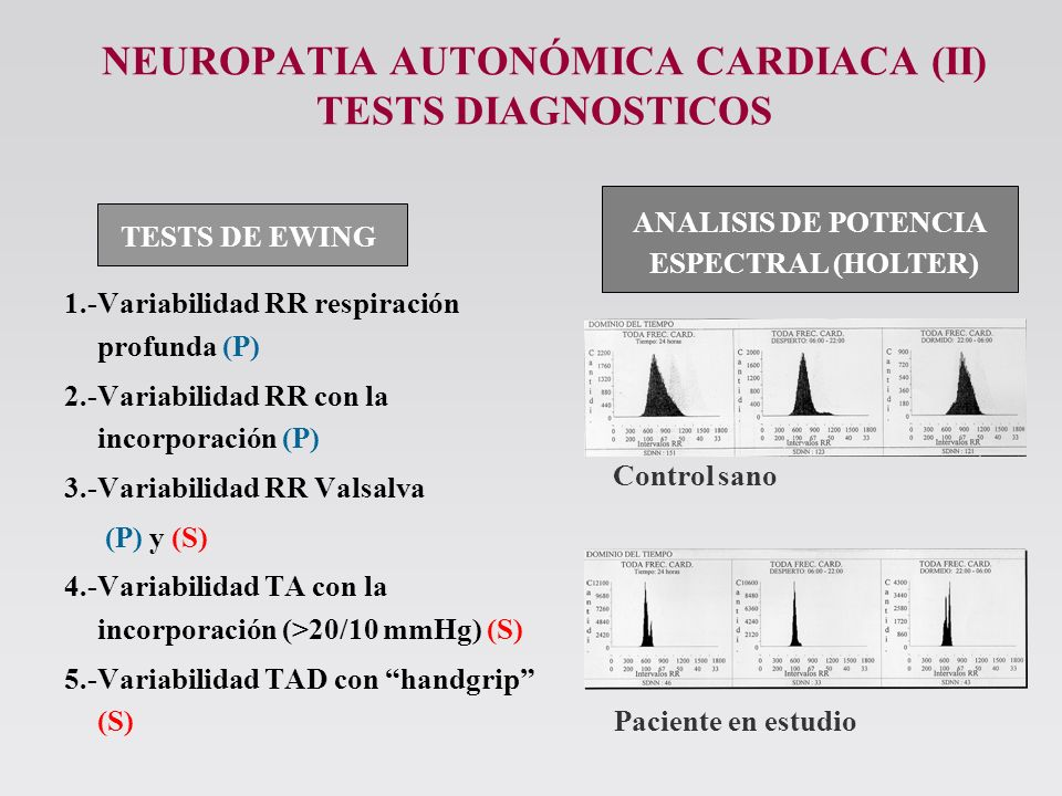 NEUROPATIA AUTONÓMICA CARDIACA (II) TESTS DIAGNOSTICOS