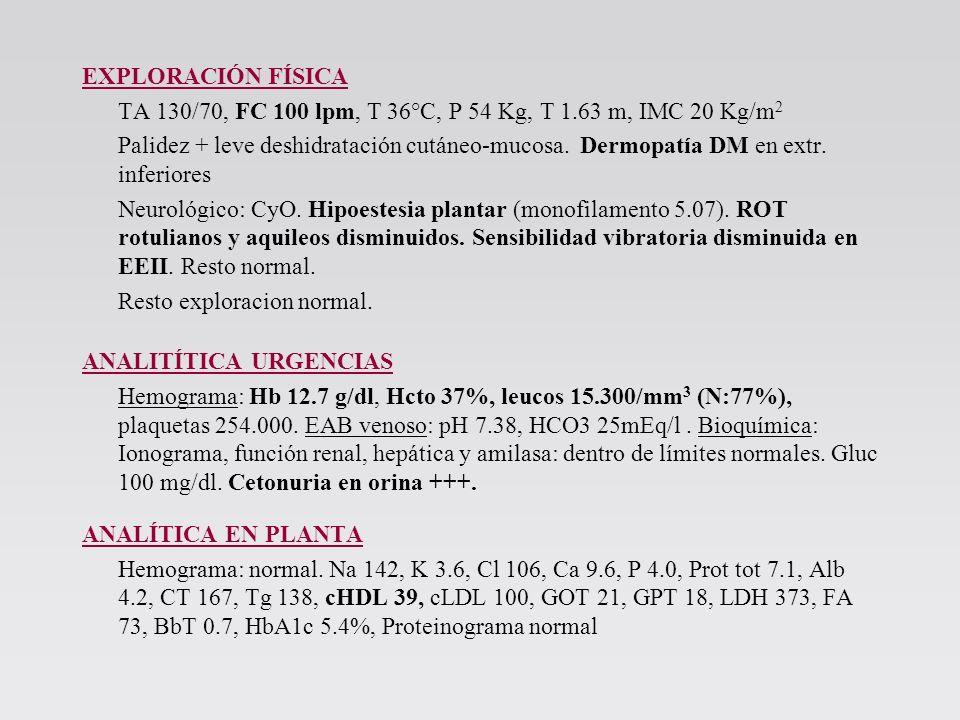 EXPLORACIÓN FÍSICA TA 130/70, FC 100 lpm, T 36°C, P 54 Kg, T 1.63 m, IMC 20 Kg/m2.