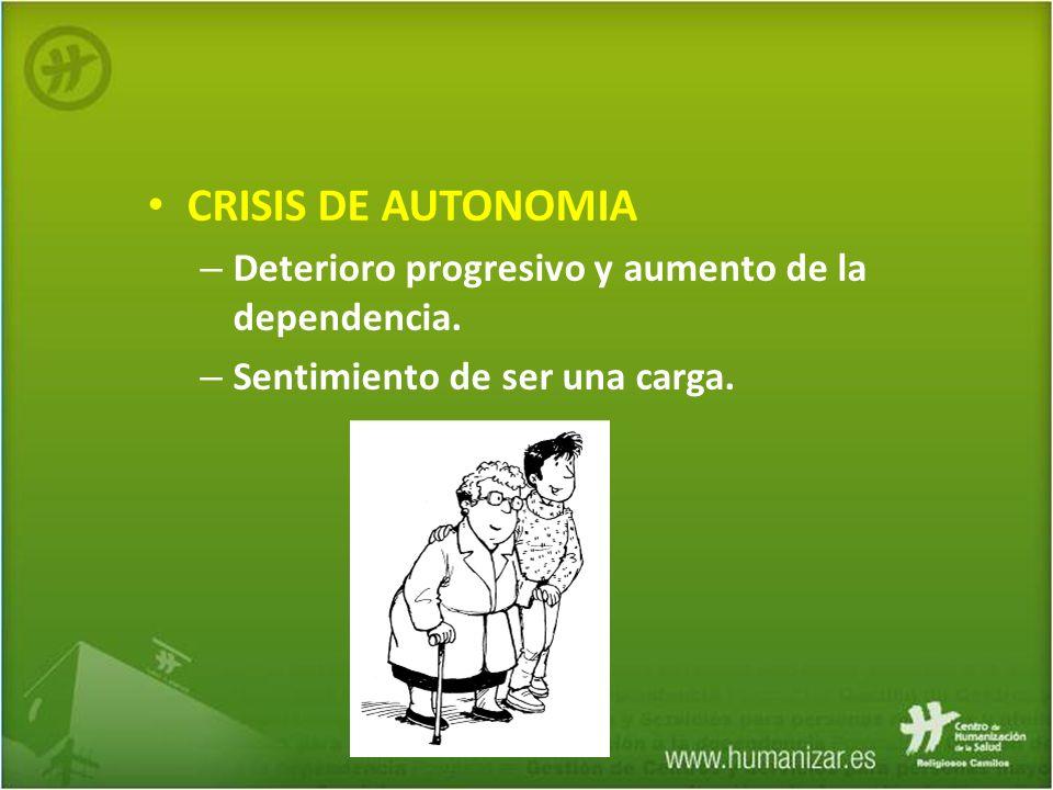 CRISIS DE AUTONOMIA Deterioro progresivo y aumento de la dependencia.