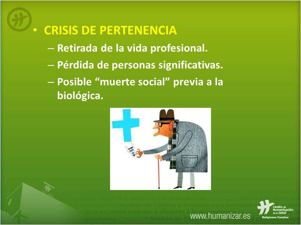 CRISIS DE PERTENENCIA Retirada de la vida profesional.