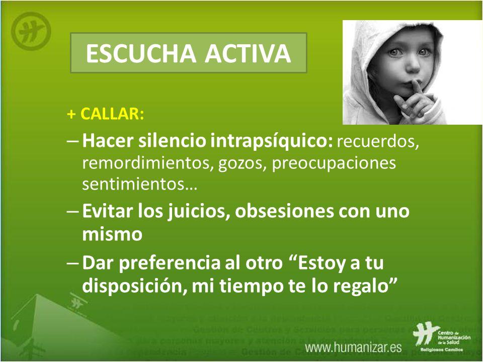 ESCUCHA ACTIVA + CALLAR: Hacer silencio intrapsíquico: recuerdos, remordimientos, gozos, preocupaciones sentimientos…