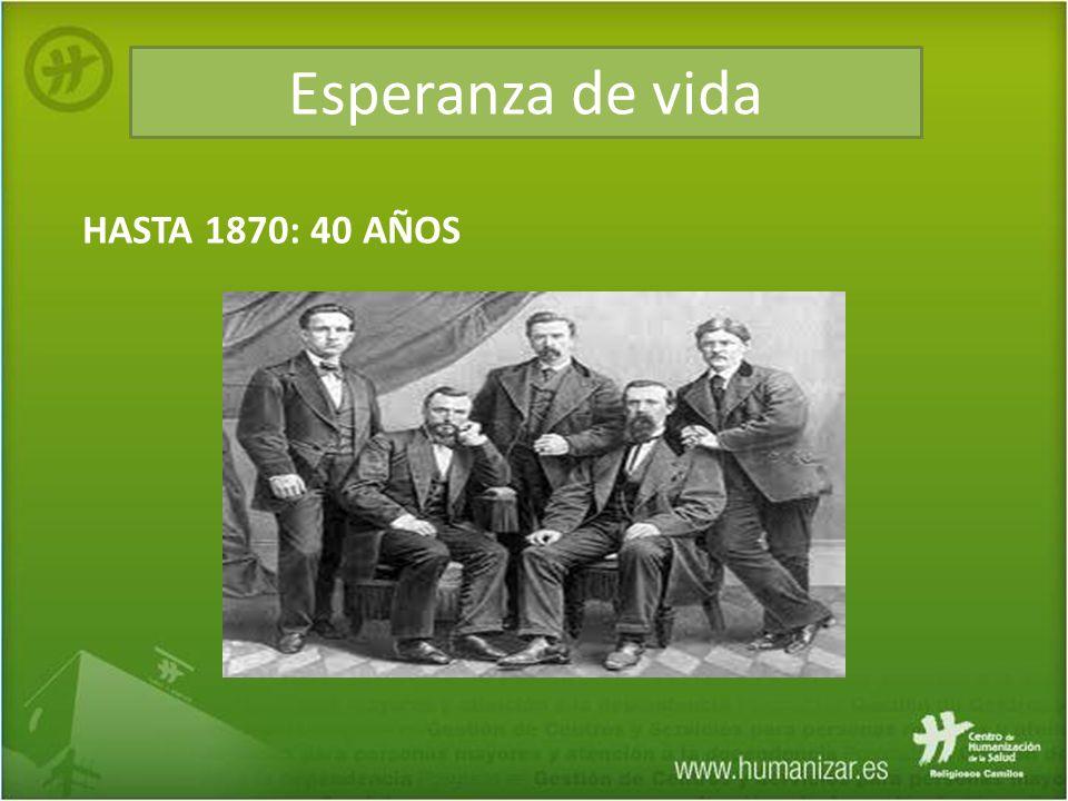 Esperanza de vida HASTA 1870: 40 AÑOS