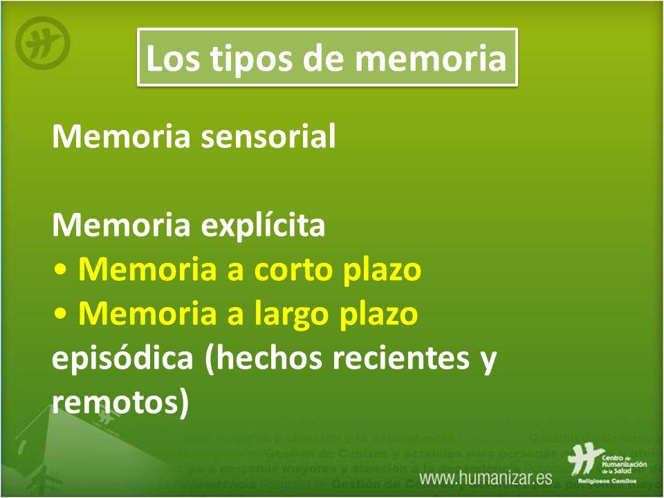 Los tipos de memoria Memoria sensorial Memoria explícita