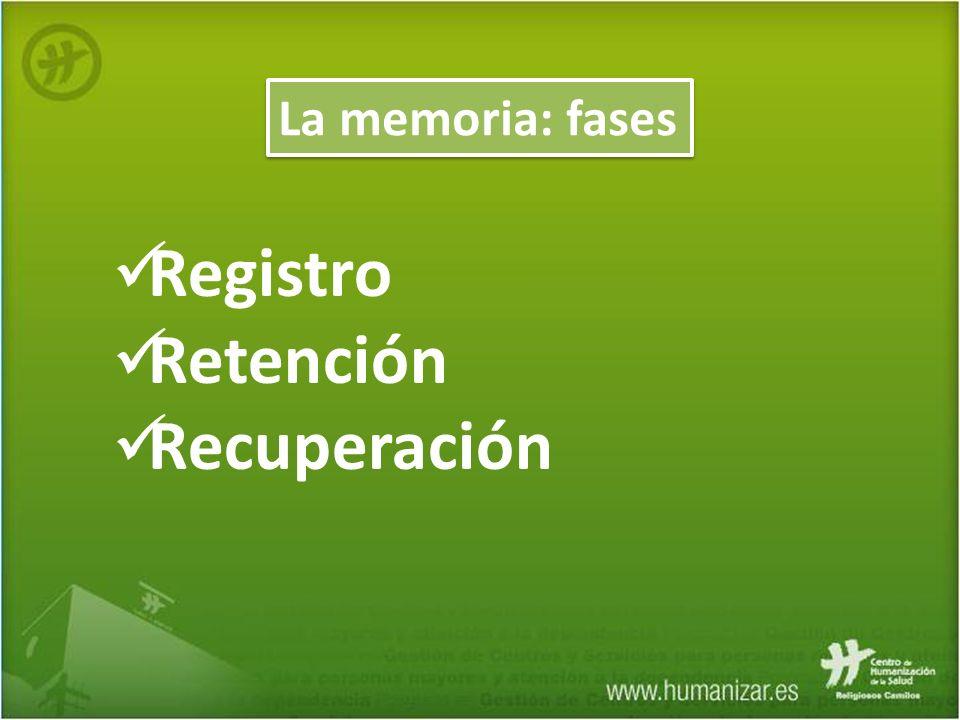 La memoria: fases Registro Retención Recuperación